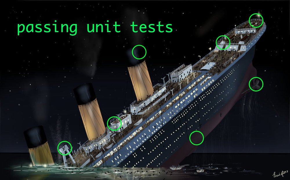 Passing unit tests, sinking ship